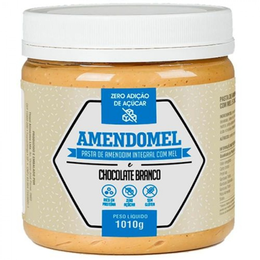 Pasta De Amendoim Amendomel Chocolate Branco (1010g)