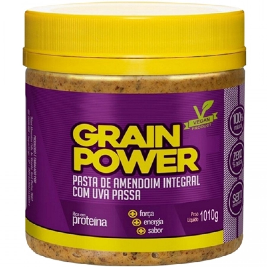 Grain Power Pasta de Amendoim Integral com Uva Passa (1010g)