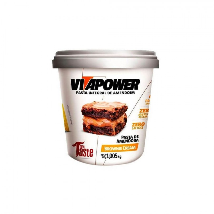 PASTA DE AMENDOIM INTEGRAL BROWNIE CREAM (1.005KG) VITAPOWER
