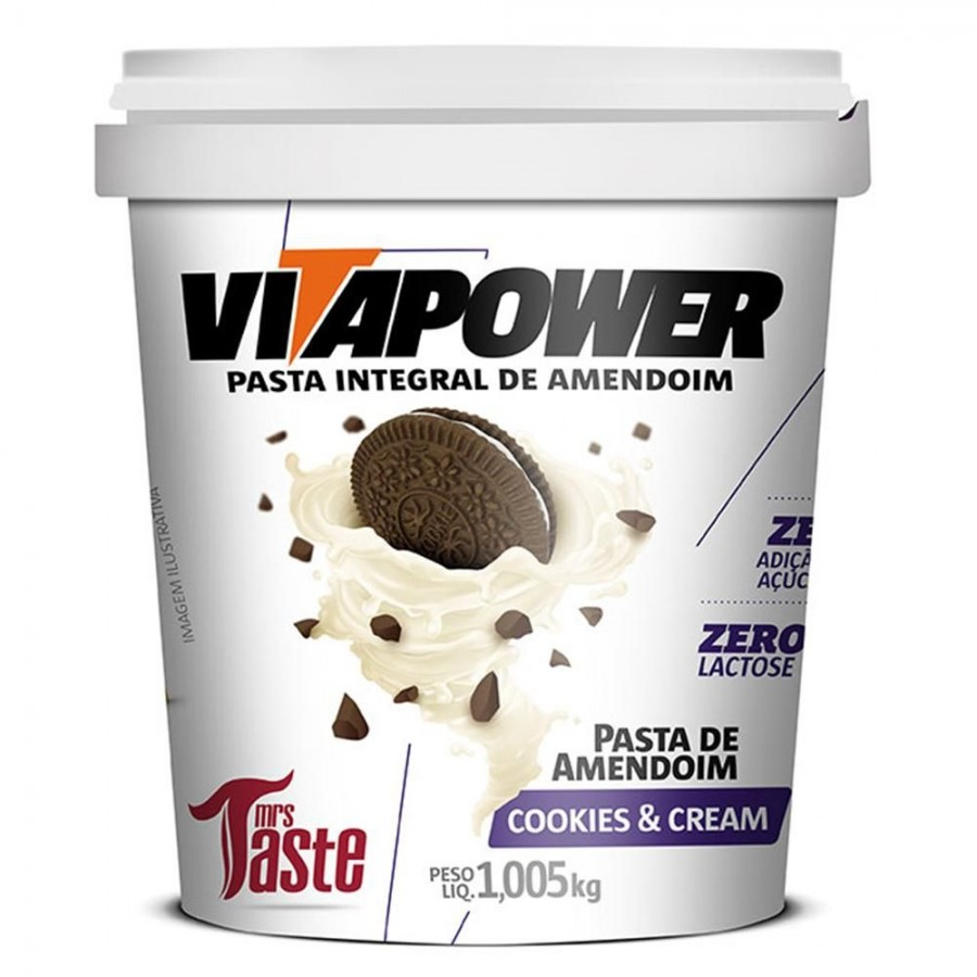 Pasta de Amendoim (1kg) - Vitapower-Cookies e Cream